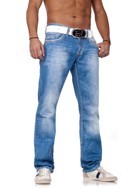 e8c4a31e684b9e Men Straight Jeans by Cipo & Baxx blue