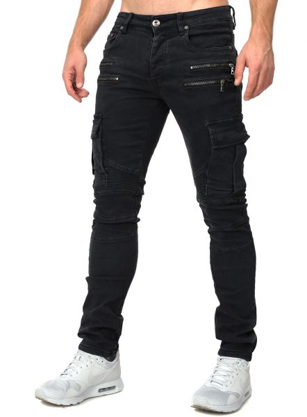 4121c88333acc7 YC Men Jeans Cargo Slim black