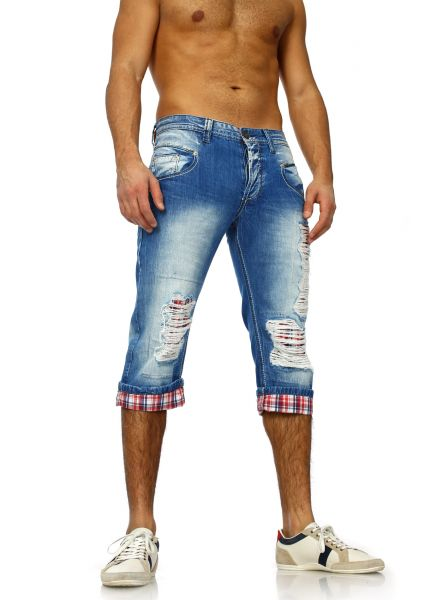 Torn Denim Shorts for Men by ReRock blue/red